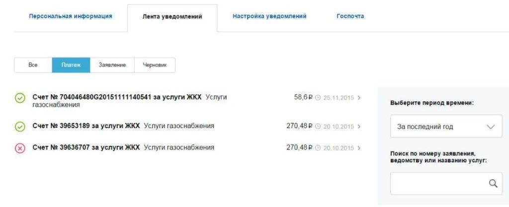 Личный кабинет gosuslugi.ru - Лента уведомлений