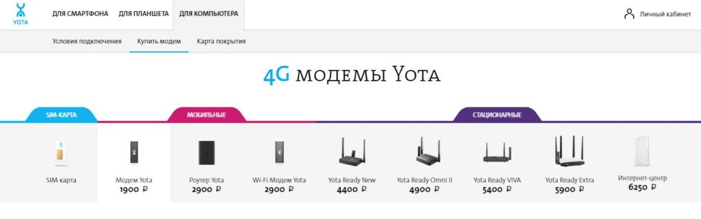4G модемы Йота