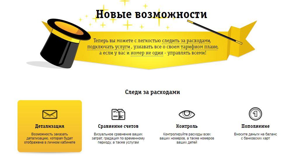 Возможности личного кабинета Beeline для частных лиц