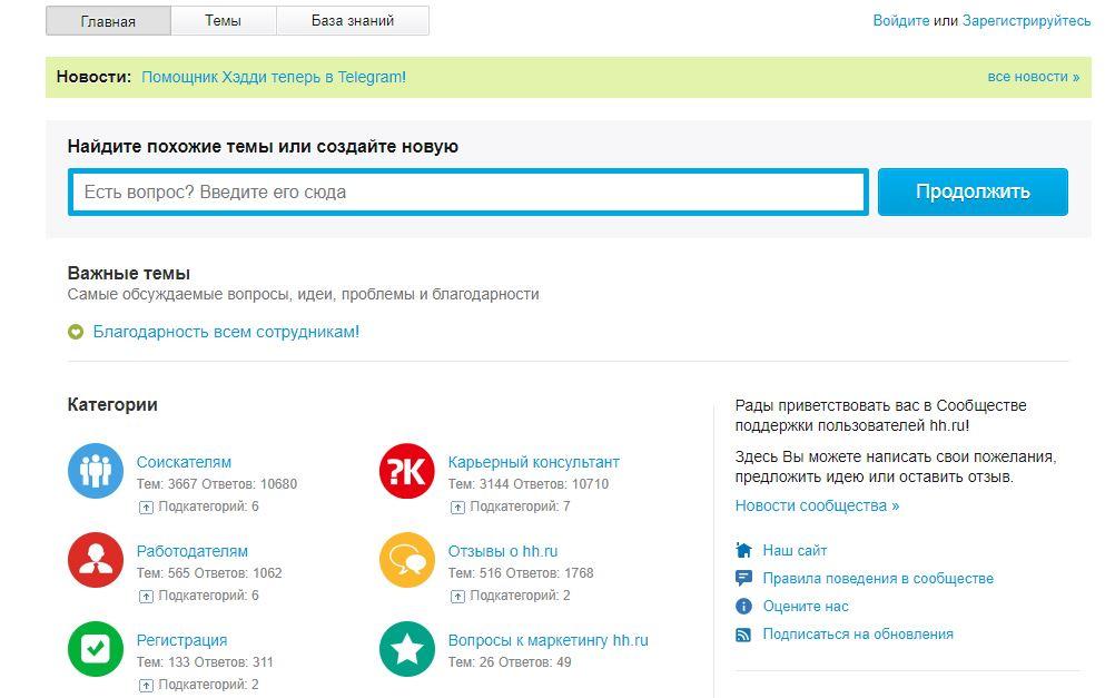 Сайт hh.ru- Помощь