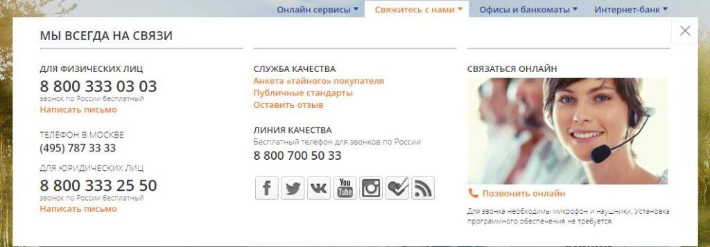 Контактная информация Промсвязьбанк