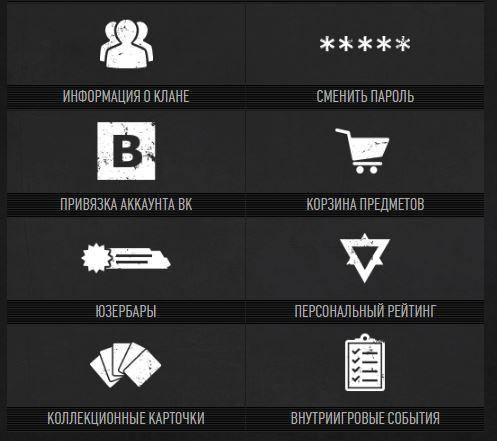 Личный кабинет Варфейс - Вкладки