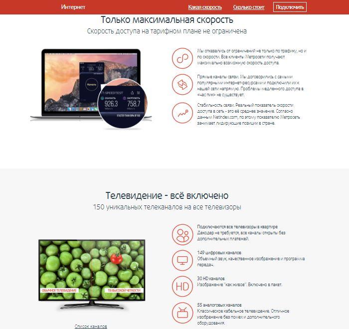 Метросеть - Интернет и телевидение