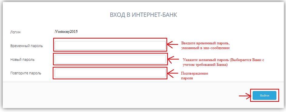 Восточный экспресс банк - Смена пароля