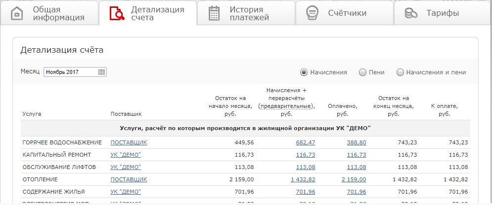 ЖКХНСО личный кабинет - Детализация счёта