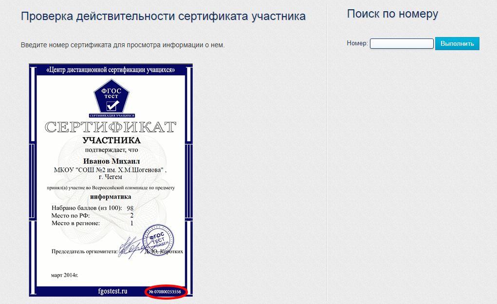 Проверка действительности сертификата участника