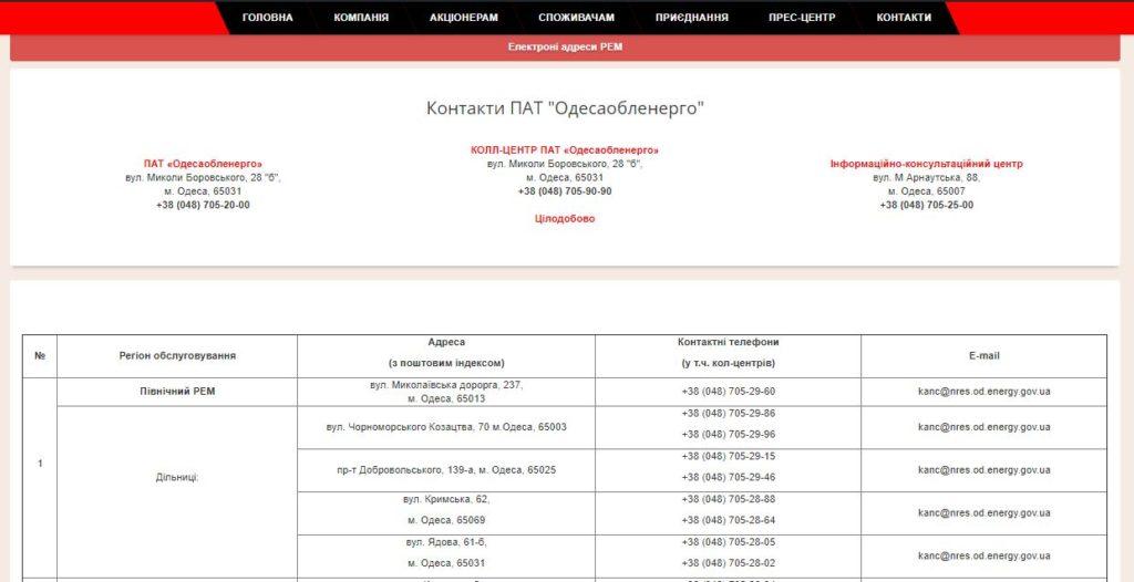 Официальный сайт Облэнерго Одесса - Контакты