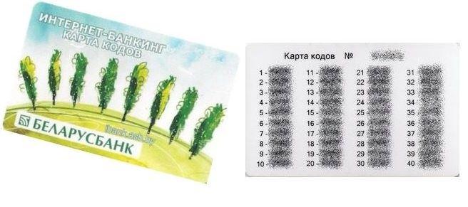 Беларусбанк Интернет-банкинг - Карта кодов