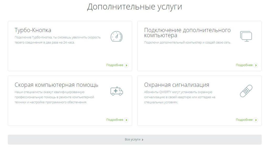 Дополнительные услуги интернет-провайдера Кверти