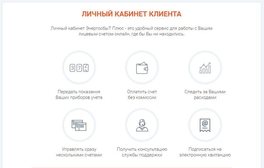 Возможности личного кабинета компании ЭнергосбыТ Плюс
