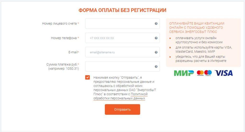 Форма оплаты без регистрации на официальном сайте компании ЭнергосбыТ Плюс