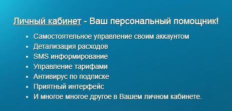 Возможности личного кабинета на официальном сайте провайдера Луренет
