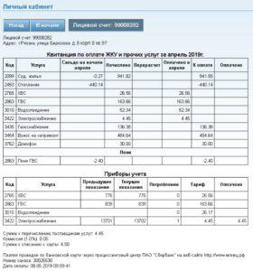 Справка о текущих платежах в личном кабинете КВЦ
