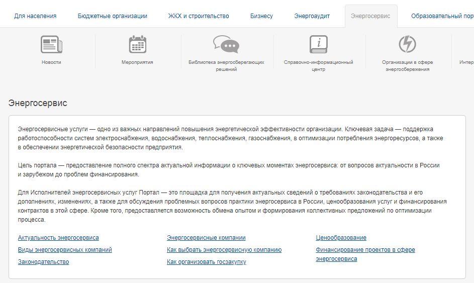 """Модуль энергоэффективности - Вкладка """"Энергосервис"""""""
