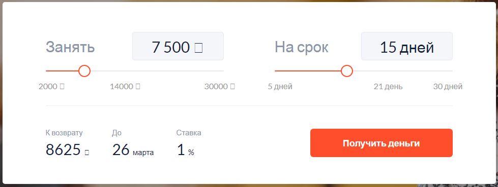 Форма получения займа на СмартКредит ру