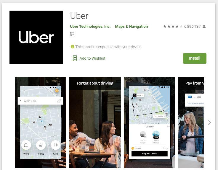 Мобильное приложение Убер для пользователей